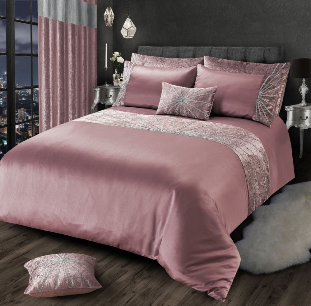 BLUSH PINK CHIC SHIMMER GLAM DIAMANTE STAR CRUSHED VELVET LUXURY BEDDING LUXURY RANGE